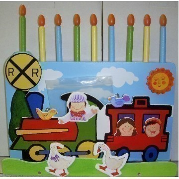 WOODEN TRAIN MENORAH Thumbnail