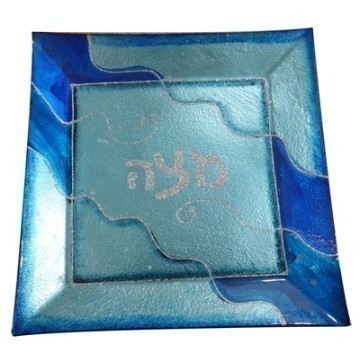 BLUE GLASS SEDER PLATE Thumbnail