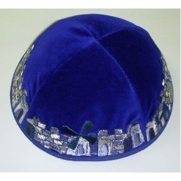 JERUSALEM ROYAL BLUE KIPPAH Thumbnail
