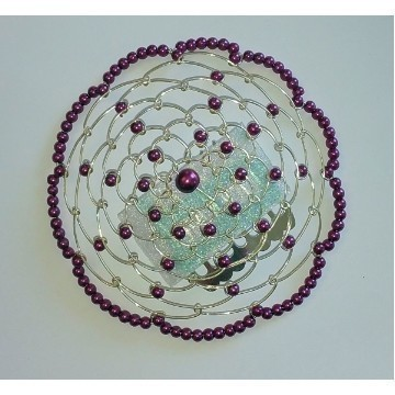 BEADED KIPPAH IN AMETHYST PURPLE Thumbnail