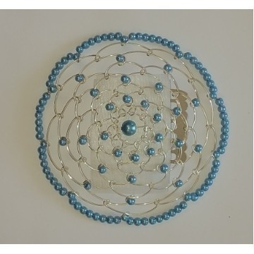 BEADED KIPPAH IN MEDIUM BLUE Thumbnail