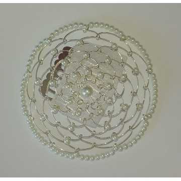 BEADED KIPPAH IN WHITE PEARL Thumbnail