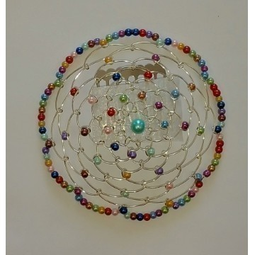 WIRE BEADED KIPPAH MULTI COLOR PEARL Thumbnail
