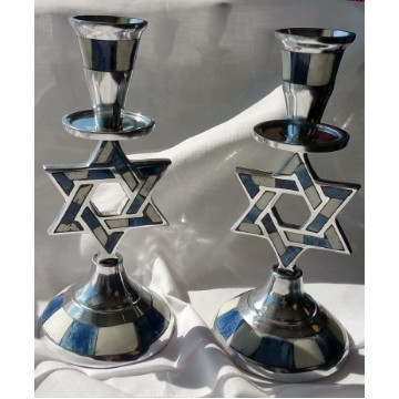 MOSAIC BLUE INLAY STAR CANDLESTICKS Thumbnail