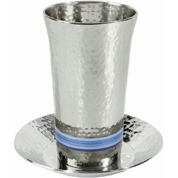 HAMMERED KIDDUSH CUP W BANDS OF BLUE Thumbnail