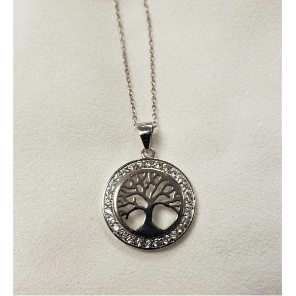 TREE OF LIFE IN CZ CIRCULAR FRAME Thumbnail
