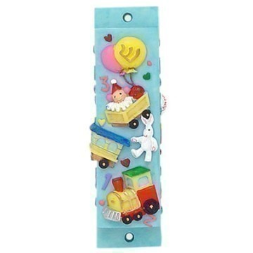 CERAMIC BLUE TOY MEZUZAH Thumbnail