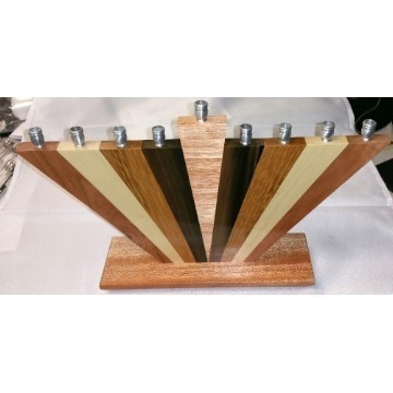 TRIANGLE WOOD MENORAH Thumbnail
