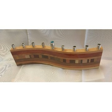 WAVE WOOD MENORAH Thumbnail