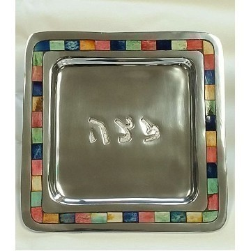 MOSAIC MATZA PLATE MULTI COLOR Thumbnail