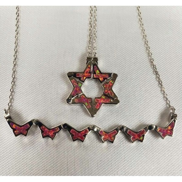 BUTTERFLY STAR OF DAVID NECKLACE IN PINK OPAL Thumbnail