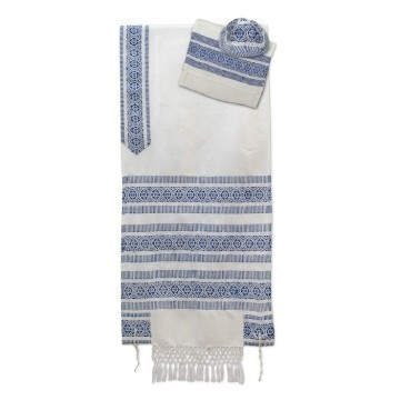 BLUE AND WHITE SILK TALLIS Thumbnail