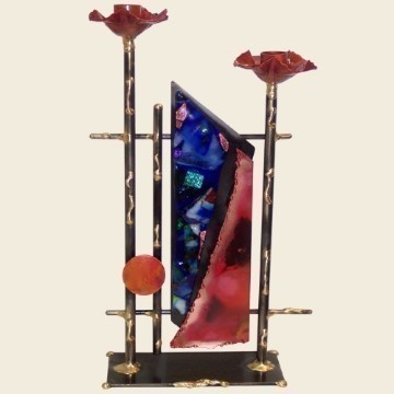 ABSTRACT COPPER GLASS CANDLESTICKS Thumbnail