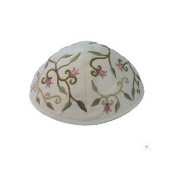 EMBROIDERED FLOWER KIPPA PINK Thumbnail