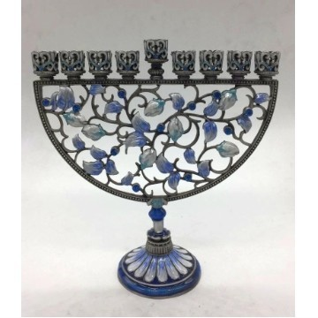 BLUE & WHITE ENAMEL CHANUKAH MENORAH Thumbnail