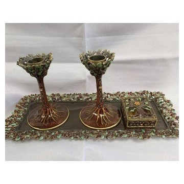BROWN SHABBAT CANDLEHOLDERS W TRAY Thumbnail