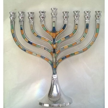 ALUMINUM MOSAIC INLAY MENORAH Thumbnail