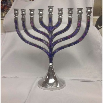 ALUMINUM PURPLE MOSAIC MENORAH Thumbnail