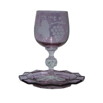 ETCHED GLASS KIDDUSH CUP RED Thumbnail
