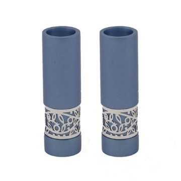 BLUE ANODIZED FILAGREE CANDLESTICKS Thumbnail