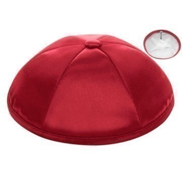 RED SATIN DELUXE KIPPOT Thumbnail