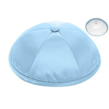 LIGHT BLUE SATIN DELUXE KIPPOT Thumbnail