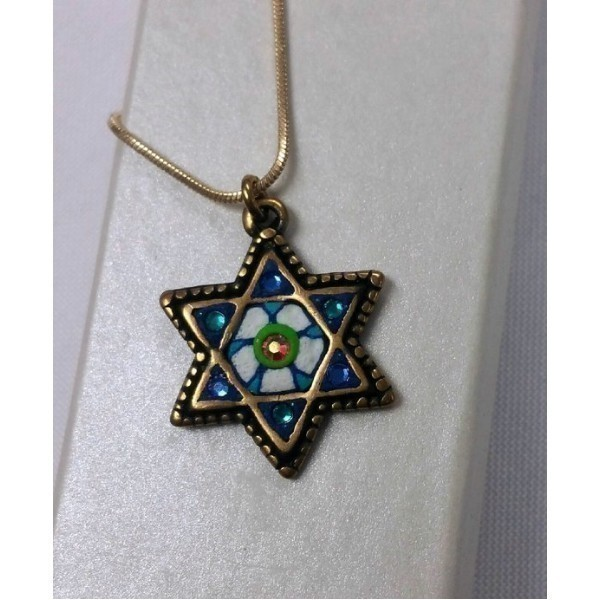 BLUE GREEN AND WHITE STAR W/CRYSTAL ACCENTS Thumbnail