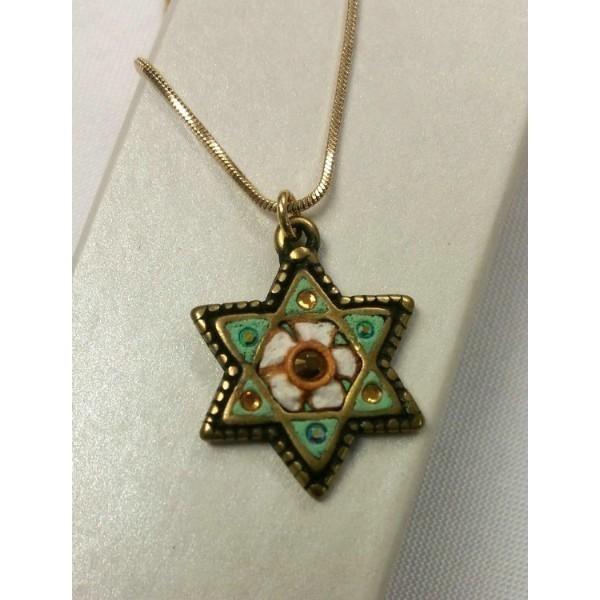 GREEN & WHITE JEWISH STAR CRYSTAL ACCENT Thumbnail