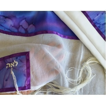 SHEER 4 MOTHERS SILK TALLIS IN PURPLES Thumbnail