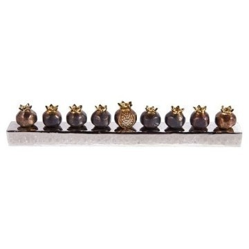 ANTIQUE BRONZE POMEGRANATE MENORAH Thumbnail