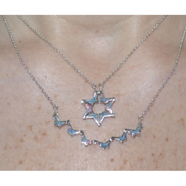 BUTTERFLY STAR OF DAVID NECK  BLUEY PINK OPAL Thumbnail
